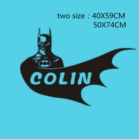 Wholesale Boys Name Wall Decals - Customer-made Name Decals Personalized Bat Hero viny wall sticker Boys bedroom Decor