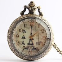 Wholesale Eiffel Tower Pocket Watches - European style romantic Paris Eiffel Tower pocket watch antique pocket watch multiplexing fashionable men and women watch