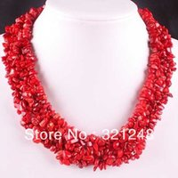 Wholesale Irregular Semi Precious Beads - Classical natural red coral chips 4X8mm charms irregular semi-precious stone beads necklace making strand 18inch GE1170