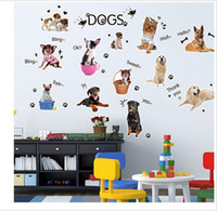Wholesale Cartoon Puppy Wall Stickers - DHL Free Shipping~ Cartoon Cute Puppy Wall Stickers Kid Room Home Decoration Living room WallPaper Cartoon-Removable 50X70cm