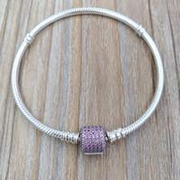 модные розовые бусы оптовых-Подлинный стерлингового серебра 925 пробы с застежкой-пряжкой, необычный розовый Cz Подходит для европейского пандора стиль ювелирные изделия бусины 590723CZS