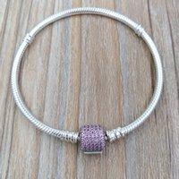 cierre de plata rosa perla al por mayor-Auténtica pulsera de broche de plata de ley 925 con firma, fantasía de color rosa Cz se adapta a los encantos de la joyería de estilo Pandora europeo 590723CZS