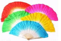 41cm Girls Belly Dancing Silk Bamboo Short Fans Veils Folk Art Chinese Yangko Party Stage Performance Foldable Бесплатная доставка