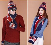 Wholesale Knitted Flag Scarf - Wholesale-Women's Fashion Warm Skullies Beanie Cap British Flag Thick Autumn Winter Lady Knitted Hat glove scraf