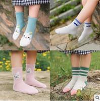 Wholesale baby socks pack - 3 Sizes Korea Socks Striped Cat Baby Socks Winter Cotton Short Socks Children Socks Baby Kids Socks Cheap Socks Gift Packing 516