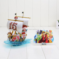 Wholesale One Piece Sunny Pirate - Anime One piece Pirate Ship Thousand Sunny Mini Ship Model Collettion PVC Figure Toy Doll 18cm Heigh in box