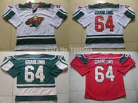 auténticas camisetas de hockey de china al por mayor-Auténtico barato Minnesota Wild Jerseys # 64 Mikael Granlund Jersey rojo blanco verde venta por mayor Hockey sobre hielo Jerseys China