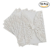 Wholesale Wedding Laser Card - New Fashion 10Pcs Set Vertical Laser Cut Butterfly Invitations Cards Kits for Wedding Bridal Shower Birthday White Greeting Cards