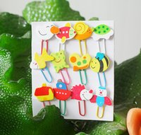 Wholesale Animal Clip Bookmarks - Cute Animal Cartoon Painted Wooden Paperclip Burst Models Stationery Wholesale Paper Clips kawaii bookmark Clip