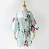 Light Blue Peacock Braut Roben billig Dressing Robe Satin Robe Kimono Brautjungfer Roben Brautjungfer Roben Nicht Baumwolle passenden Brautjungfer SR9
