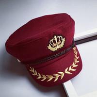 Wholesale Captain Hat Sailor - 2016 new winter Yacht Captain Hat Sailor Navy wheat badge embroidered woolen Crown octagonal cap hats