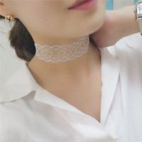 Wholesale Vintage Crocheted Lace Collar - Vintage Handmade Crochet Lace Heart Choker Necklace Collar Sexy Gothic Jewelry For Women
