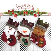 Wholesale Hanging Santa Claus Decoration - 3Pieces  Lot 2017New Year Christmas Stockings Socks Plaid Santa Claus Deer Candy Gift Bag Xmas Tree Hanging Ornament Decoration For Home