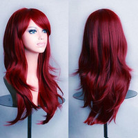 Wholesale curly red full lace wig - 100% Free shipp New High Quality Fashion Picture full lace wigs>>Fashion Women's Wigs 70cm Red Wine Medium Long Wavy Anime Cosplay Party Wig