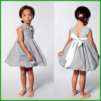 Wholesale Dresses Baby Cool - Toddler Kids Baby Girls Summer Flower Dress Princess Party Pageant Tutu Dresses factory killing price gray stripes sleeveless cool dresses