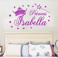 odalarda vinil kız isimleri toptan satış-Kişiselleştirilmiş Adı Prenses Tiara Sihirli Değnek Kız Duvar Sticker Çıkartmaları Vinil DIY Kız yatak odası duvar sticker çocuk odası Dekor