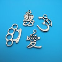 Wholesale wholesale brass knuckle jewelry online - Mixed Tibetan Silver letter Fist D Love Brass Knuckle Charms Pendants For Jewelry Making Findings Bracelets Handmade Crafts Accessories