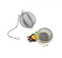 Wholesale Steel Mesh Tea Ball - New Stainless Steel Sphere Locking Spice Tea Ball Strainer Mesh Infuser tea strainer Filter infusor Free Shipping