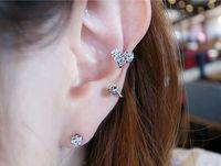 Wholesale Cheap Diamond Shaped Earrings - Fashion accessories Sweet love shape diamond ear clip s-shaped stud earrings wholesale without hole stud cheap gift