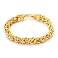 Wholesale Gold Dragon Bracelets - Dragon Shape 18K Gold Plated Bracelets For Men Length 21.5CM