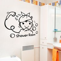 Ducha Room Wall Decal Sticker Home Decor DIY Extraíble Arte Vinilo Mural Para Aseo / Baño / Puerta corredera / Vidrio QTM35 Cartoon