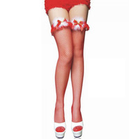 Wholesale Christmas Mesh Stocking - 1 Pair Sexy Red Women Stockings Christmas Mesh Thigh High Sheer Lace Bowknot Over the Knee Stocking