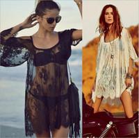 Wholesale Xxl Cover Ups - New Women Beach Dress Sexy Strap Sheer Floral Lace Embroidered Crochet Summer Dresses Hippie Boho Dress Vestidos Beach Wear Plus Size S-XXL