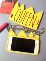 Wholesale Handbag Strap Rubber - 2016 New Yellow Queen 3D Crown Silicone phone case For iphone 6 6s 6plus Soft Handbag Rubber cases + Long Strap cover fundas