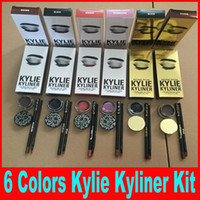 Kylie Kyliner Cosmetics By Kylie jenner kit trucco chameleon / marrone / nero edizione di compleanno Bronzo scuro con Eyeliner Gel pentola set da spazzola DHL