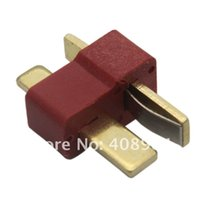 Wholesale Rc Deans Plug - 10pairs lot Deans Style T Plug Nylon T-Connector Golden T Plug T-Plug For RC helicopter RC CAR