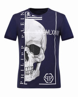 Wholesale Large Tee Shirt Men - 2017 Designer t shirts Men Large Skulls Crystal Printed Round Collar Elastic Polo t shirt cotton Short Sleeve Slim Tee Shirts 18263