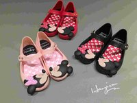 Wholesale Plastic Mini Shoes - Lovely Mickey & Minnie Bow Mini Melissa Sandals For Girls Brazil Melissa Jelly Shoes Mickey Minnie Children Sandals Soft Comfort