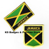 Wholesale Jamaica Flags Wholesale - Free Shipping Jamaica Flag Embroidery Iron on Patch 2pcs per Set