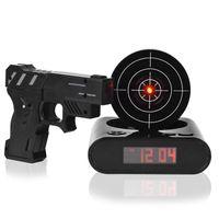 Wholesale Clock Guns - 3 Colors 1 Set Desk Gadget Target Laser Shooting Gun Alarm Clock LED Screen Gun Alarm Colck Target Alarm Clock
