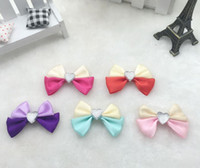 Wholesale garment butterfly - Satin ribbon flower candy box accessories double color butterfly knot other flower garment accessories flower for dresses