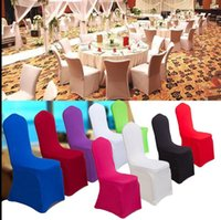 Universal White Spandex Wedding Party Chair Covers Cobertura de cadeira branca para banquete de casamento Banquet Chair Flat Covers 15 color KKA2264