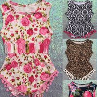 Wholesale floral bubble romper for sale - Group buy baby clothes Baby girls Floral Bubble Romper petti romper baby birthday outfit Pom Baby Toddler Romper pc