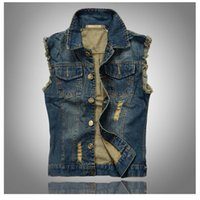 Wholesale Denim Jacket Vest Men - Fall-2016 new men's denim vest for men's fashion vest code hole casual denim jacket