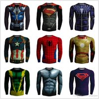 Wholesale Tight Single Sleeve - Plus zize 5xl 2017 Superhero Superman Batman Spiderman Men Long Sleeve T Shirt Compression Tights Tops Fitness T-shirt