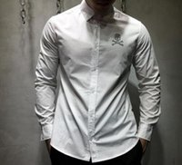 Wholesale Cotton Drill Shirt - Tide brand personality skull drilling Cotton Mens Long Sleeve Shirt fashion letter Shirts