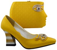 Wholesale Yellow Shoes Matching Bag - wholesale BCH-25 Yellow HU&GH New Arrival Italian Shoes With Matching Bags African Women Shoes and Bags Set For Wedding! YELLOW Yellow