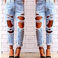 Wholesale sexy clothing for female online - Hot Women Ripped Sexy Jeans Destroyed Ripped Distressed Slim Denim Pants Casual Hip Hop Clothing Trouser for Female