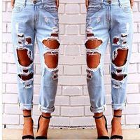 pantalones femeninos sexy al por mayor-Hot Women Ripped Sexy Jeans Destruido Ripped Distressed Slim Denim Pantalones Casual Hip Hop Ropa Pantalón para Mujer Envío Gratis
