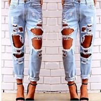 ingrosso caldo pantalone jeans donna-Le donne calde hanno strappato i jeans sexy strappati distrutti strappati pantaloni sottili del denim i pantaloni casuali dell'abbigliamento di Hip Hop per trasporto libero della femmina
