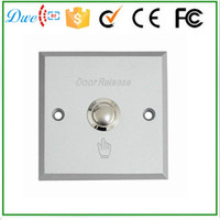 Wholesale exit buttons - Wholesale- Free shipping Aluminum alloy push exit button switch door release no nc for access control system