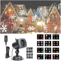 Wholesale Christmas Lawn - Christmas Projector Laser Light 12 Replaceable Lens 12 Colorful Patterns Night Light Wedding Fairy Garden Lawn Lamp Landscape LED Spotlight