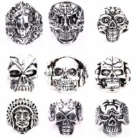 Wholesale Skulls Punk Rock Rings - wholesale 50PCs silver skull skeleton mixed styles men's punk rock metal alloy jewelry rings brand new