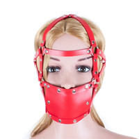 Wholesale Ball Gag Harness Red - Adult Fun Red Strengthen Mask Mesh Mouth Ball Fetish Restraint Sex Bondage Ball Gag Fantasy Sex Mouth Mask Cosplay Harness Gags