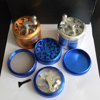 Wholesale tobacco grinders free shipping - 2016 New smoking Tobacco Grinder 4 parts herb Grinders DI 60MM Metal Grinder mix color free shipping