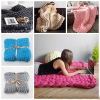 Wholesale Used Sofas - 11 Colors 50*60cm Wool Thick Line Knitted Blanket Anti-Pilling Used in Bed Sofa Plane Cobertor Blanket Super Soft Mat 20pcs